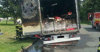 Požiar nákladného motorového vozidla na diaľnici D1